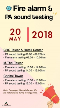 Monthly PA sound and Fire alarm testing in May, 2018